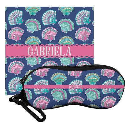 Preppy Sea Shells Eyeglass Case & Cloth (Personalized)