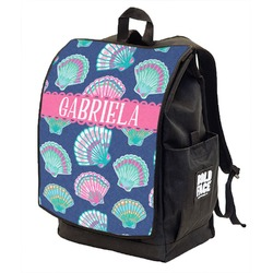 Preppy Sea Shells Backpack w/ Front Flap  (Personalized)