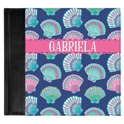 Preppy Sea Shells Genuine Leather Baby Memory Book (Personalized)