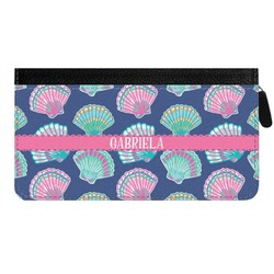 Preppy Sea Shells Genuine Leather Ladies Zippered Wallet (Personalized)