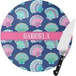 Preppy Sea Shells Round Glass Cutting Board (Personalized)