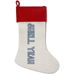 Preppy Sea Shells Red Linen Stocking (Personalized)
