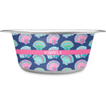 Preppy Sea Shells Stainless Steel Dog Bowl (Personalized)