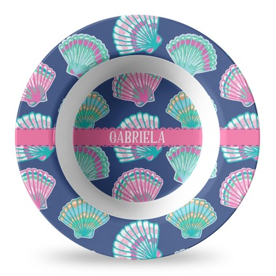 Preppy Sea Shells Plastic Bowl - Microwave Safe - Composite Polymer (Personalized)