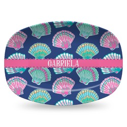 Preppy Sea Shells Plastic Platter - Microwave & Oven Safe Composite Polymer (Personalized)