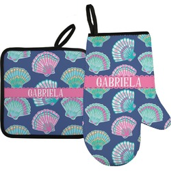 Preppy Sea Shells Oven Mitt & Pot Holder (Personalized)