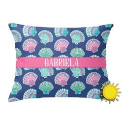 Preppy Sea Shells Outdoor Throw Pillow (Rectangular) (Personalized)