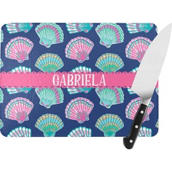 Preppy Sea Shells Rectangular Glass Cutting Board (Personalized)