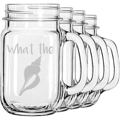 Preppy Sea Shells Mason Jar Mugs (Set of 4) (Personalized)