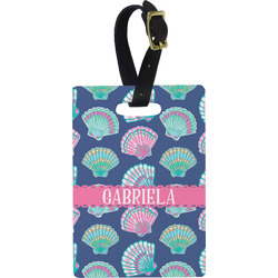 Preppy Sea Shells Plastic Luggage Tag - Rectangular w/ Name or Text