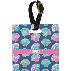Preppy Sea Shells Plastic Luggage Tag - Square w/ Name or Text