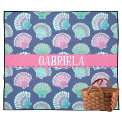 Preppy Sea Shells Outdoor Picnic Blanket (Personalized)
