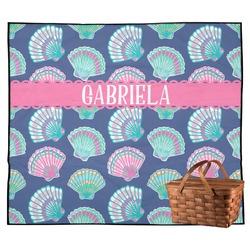 Preppy Sea Shells Outdoor Picnic Blanket (Personalized)