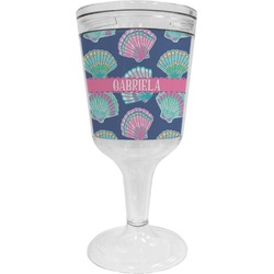 Preppy Sea Shells Wine Tumbler - 11 oz Plastic (Personalized)