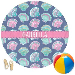 Preppy Sea Shells Round Beach Towel (Personalized)