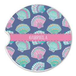 Preppy Sea Shells Sandstone Car Coasters (Personalized)