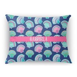 Preppy Sea Shells Rectangular Throw Pillow Case (Personalized)