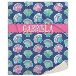 Preppy Sea Shells Sherpa Throw Blanket (Personalized)