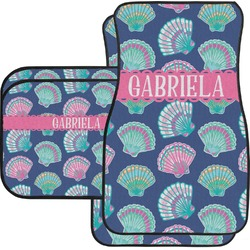 Preppy Sea Shells Car Floor Mats Set - 2 Front & 2 Back (Personalized)