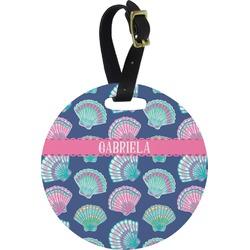 Preppy Sea Shells Round Luggage Tag (Personalized)