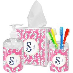 Sea Horses Acrylic Bathroom Accessories Set w/ Name and Initial