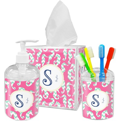 Sea horses bathroom accessories set personalized for Sea bathroom set