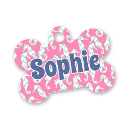 Sea Horses Bone Shaped Dog Tag (Personalized)