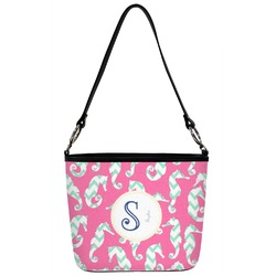 Sea Horses Bucket Bag w/ Genuine Leather Trim (Personalized)