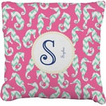 Sea Horses Faux-Linen Throw Pillow (Personalized)