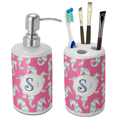 Sea Horses Ceramic Bathroom Accessories Set (Personalized)