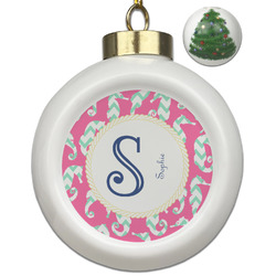 Sea Horses Ceramic Ball Ornament - Christmas Tree (Personalized)