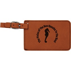 Sea Horses Leatherette Luggage Tag (Personalized)