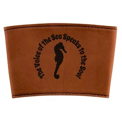 Sea Horses Leatherette Cup Sleeve (Personalized)