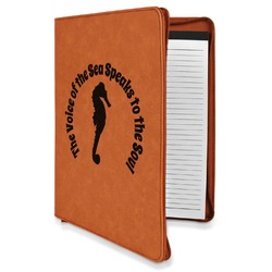 Sea Horses Leatherette Zipper Portfolio with Notepad (Personalized)