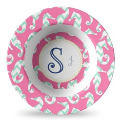 Sea Horses Plastic Bowl - Microwave Safe - Composite Polymer (Personalized)
