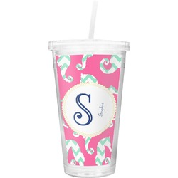 Sea Horses Double Wall Tumbler with Straw (Personalized)