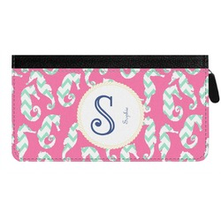Sea Horses Genuine Leather Ladies Zippered Wallet (Personalized)
