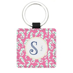 Sea Horses Genuine Leather Rectangular Keychain (Personalized)