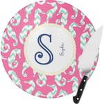 Sea Horses Round Glass Cutting Board (Personalized)
