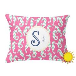 Sea Horses Outdoor Throw Pillow (Rectangular) (Personalized)