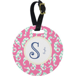 Sea Horses Round Luggage Tag (Personalized)