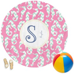 Sea Horses Round Beach Towel (Personalized)