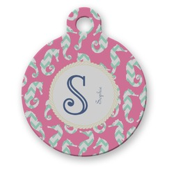 Sea Horses Round Pet Tag (Personalized)