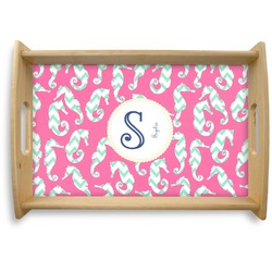 Sea Horses Natural Wooden Tray (Personalized)