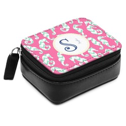 Sea Horses Small Leatherette Travel Pill Case (Personalized)