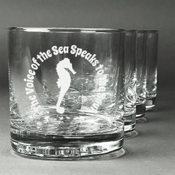 Sea Horses Whiskey Glasses (Set of 4) (Personalized)