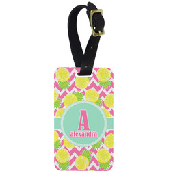 Pineapples Metal Luggage Tag w/ Name and Initial