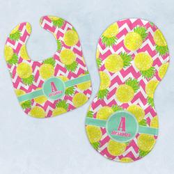 Pineapples Baby Bib & Burp Set w/ Name and Initial