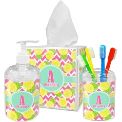 Pineapples Acrylic Bathroom Accessories Set w/ Name and Initial