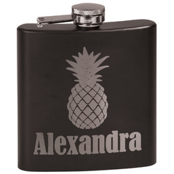 Pineapples Black Flask (Personalized)